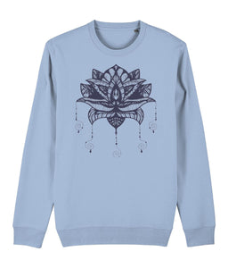 Lotus Flower I Sweatshirt Clothing IndianBelieves Sky Blue X-Small