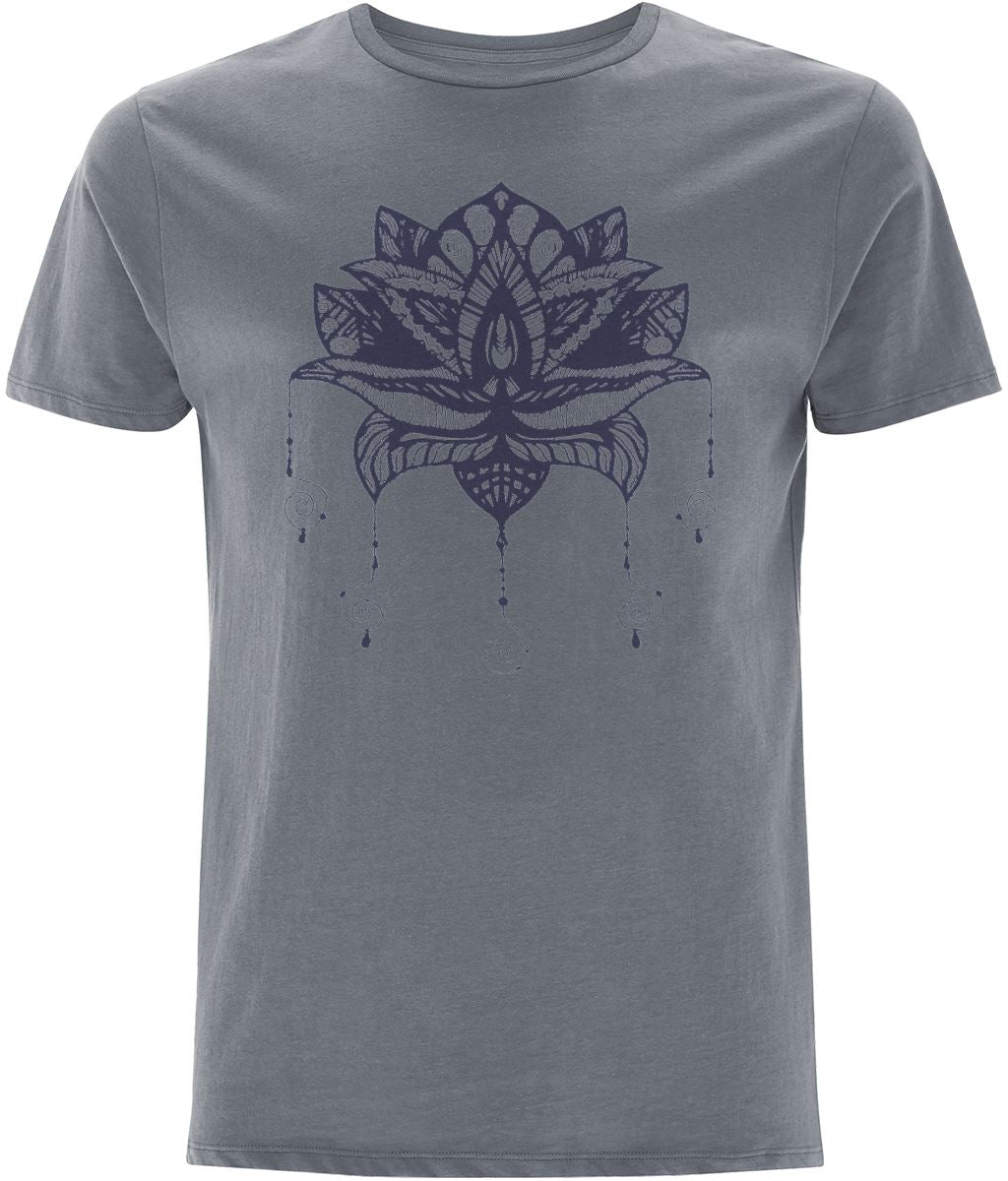 Lotus Flower I T-shirt Clothing IndianBelieves Light Charcoal X-Small