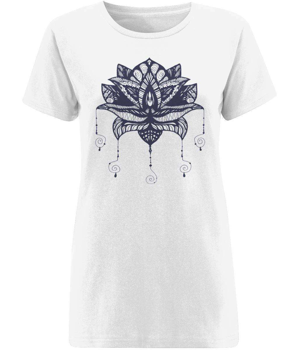 Lotus Flower I T-shirt Clothing IndianBelieves X-Small White