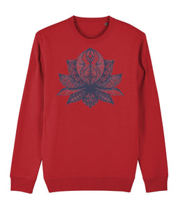 Lotus Flower II Sweatshirt Clothing IndianBelieves Bright Red X-Small
