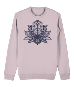 Lotus Flower II Sweatshirt Clothing IndianBelieves Cotton Pink X-Small