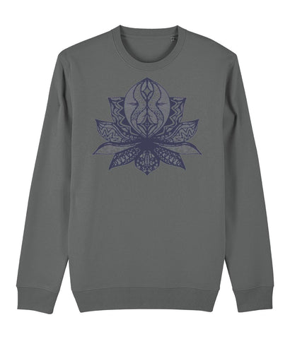 Lotus Flower II Sweatshirt Clothing IndianBelieves Heather Grey X-Small