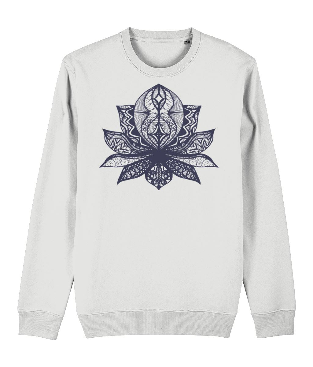 Lotus Flower II Sweatshirt Clothing IndianBelieves White X-Small