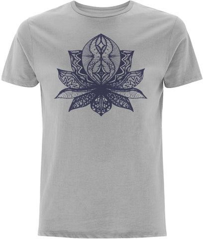 Lotus Flower II T-shirt Clothing IndianBelieves Melange Grey X-Small