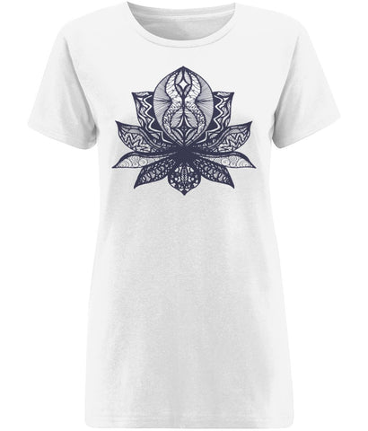 Lotus Flower II T-shirt Clothing IndianBelieves X-Small White