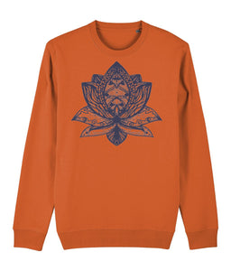 Lotus Flower III Sweatshirt Clothing IndianBelieves Bright Orange X-Small