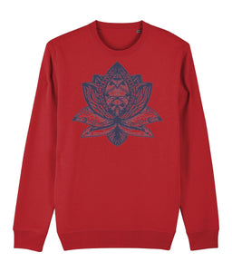 Lotus Flower III Sweatshirt Clothing IndianBelieves Bright Red X-Small