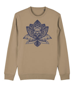 Lotus Flower III Sweatshirt Clothing IndianBelieves Camel X-Small