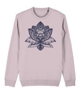 Lotus Flower III Sweatshirt Clothing IndianBelieves Cotton Pink X-Small