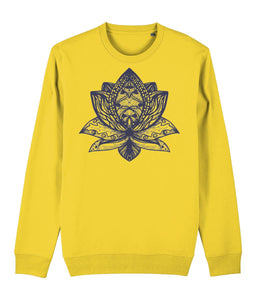 Lotus Flower III Sweatshirt Clothing IndianBelieves Golden Yellow X-Small