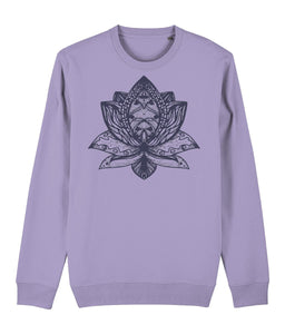 Lotus Flower III Sweatshirt Clothing IndianBelieves Lavender Dawn X-Small