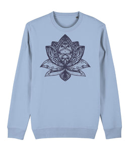 Lotus Flower III Sweatshirt Clothing IndianBelieves Sky Blue X-Small