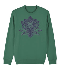 Lotus Flower III Sweatshirt Clothing IndianBelieves Varsity Green X-Small
