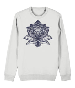 Lotus Flower III Sweatshirt Clothing IndianBelieves White X-Small