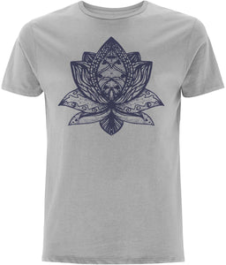 Lotus Flower III T-shirt Clothing IndianBelieves Melange Grey X-Small