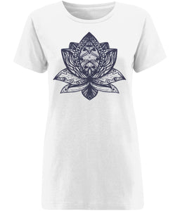 Lotus Flower III T-shirt Clothing IndianBelieves X-Small White
