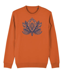 Lotus Flower IV Sweatshirt Clothing IndianBelieves Bright Orange X-Small