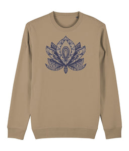 Lotus Flower IV Sweatshirt Clothing IndianBelieves Camel X-Small