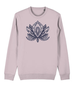 Lotus Flower IV Sweatshirt Clothing IndianBelieves Cotton Pink X-Small