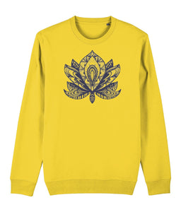 Lotus Flower IV Sweatshirt Clothing IndianBelieves Golden Yellow X-Small