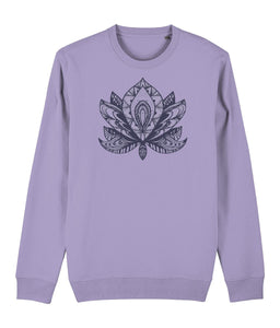 Lotus Flower IV Sweatshirt Clothing IndianBelieves Lavender Dawn X-Small