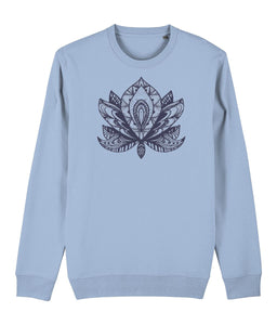 Lotus Flower IV Sweatshirt Clothing IndianBelieves Sky Blue X-Small