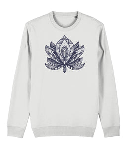 Lotus Flower IV Sweatshirt Clothing IndianBelieves White X-Small