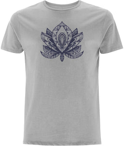 Lotus Flower IV T-shirt Clothing IndianBelieves Melange Grey X-Small