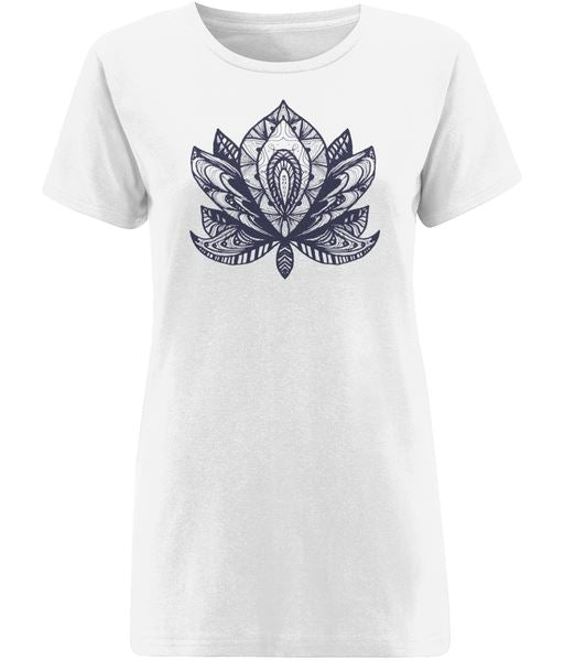 Lotus Flower IV T-shirt Clothing IndianBelieves X-Small White