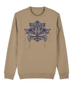 Lotus Flower V Sweatshirt Clothing IndianBelieves Camel X-Small
