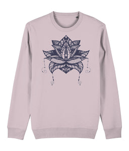 Lotus Flower V Sweatshirt Clothing IndianBelieves Cotton Pink X-Small