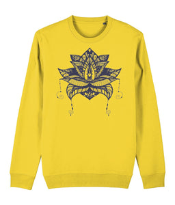 Lotus Flower V Sweatshirt Clothing IndianBelieves Golden Yellow X-Small
