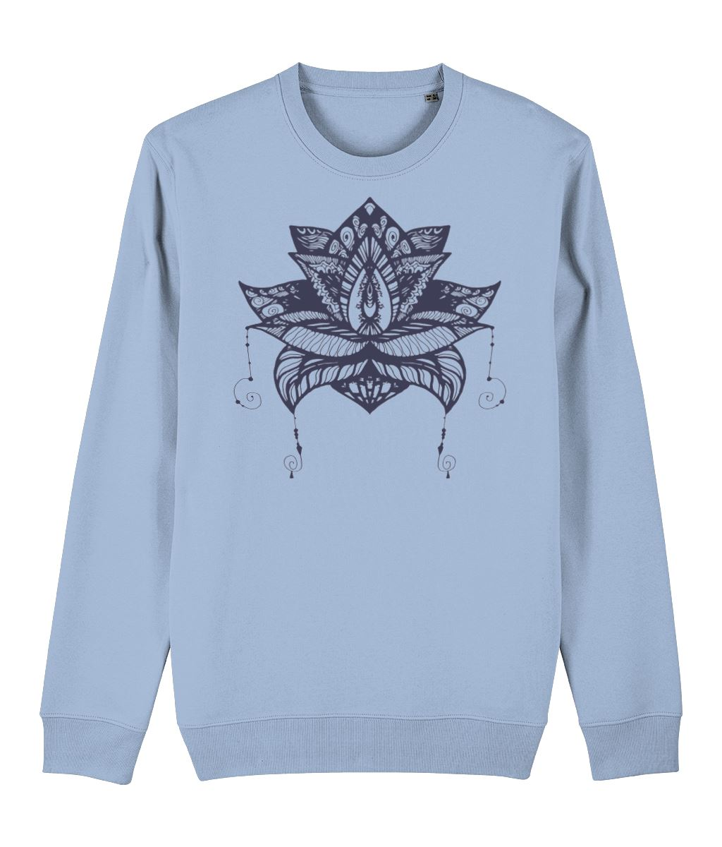 Lotus Flower V Sweatshirt Clothing IndianBelieves Sky Blue X-Small