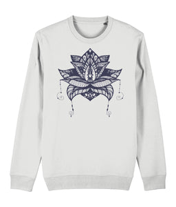 Lotus Flower V Sweatshirt Clothing IndianBelieves White X-Small
