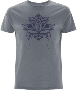 Lotus Flower V T-shirt Clothing IndianBelieves Light Charcoal X-Small