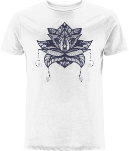 Lotus Flower V T-shirt Clothing IndianBelieves White X-Small