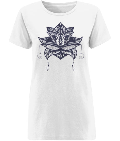 Lotus Flower V T-shirt Clothing IndianBelieves X-Small White