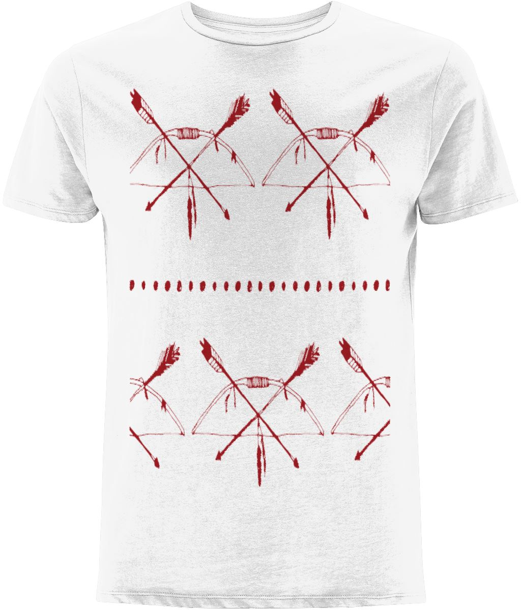 Red Arrow Pattern T-shirt Clothing IndianBelieves White X-Small