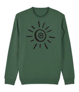 Sun Symbol Sweatshirt Clothing IndianBelieves Bottle Green X-Small