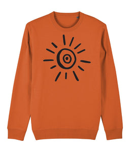 Sun Symbol Sweatshirt Clothing IndianBelieves Bright Orange X-Small