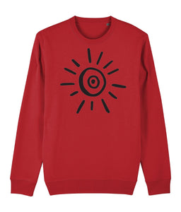Sun Symbol Sweatshirt Clothing IndianBelieves Bright Red X-Small