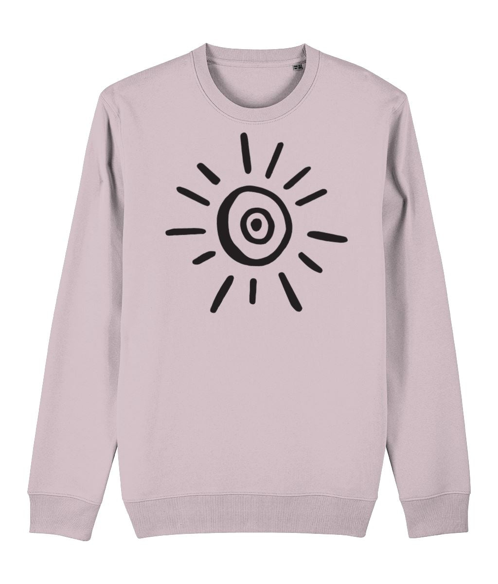 Sun Symbol Sweatshirt Clothing IndianBelieves Cotton Pink X-Small