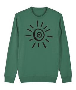 Sun Symbol Sweatshirt Clothing IndianBelieves Varsity Green X-Small