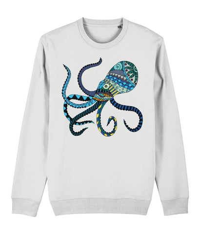 The Blue Octopus Sweatshirt Clothing IndianBelieves White X-Small