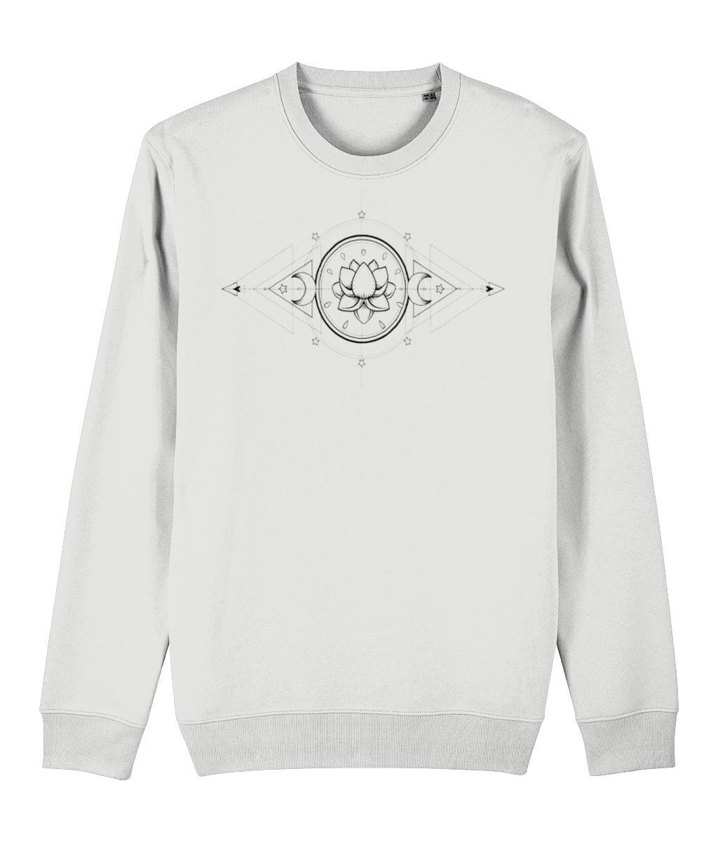 The Lotus & The Moon Sweatshirt Clothing IndianBelieves White X-Small