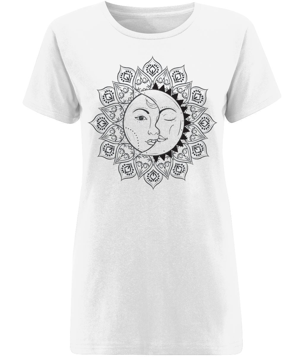 The Sun & The Moon T-shirt Clothing IndianBelieves X-Small White