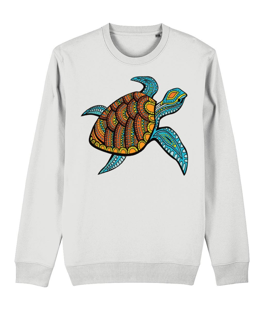 Turtle Sweatshirt Clothing IndianBelieves White X-Small
