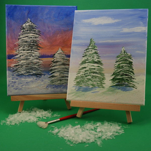 Sample of our Acrylic Winter Wonderland Painting Art Kit to tweens