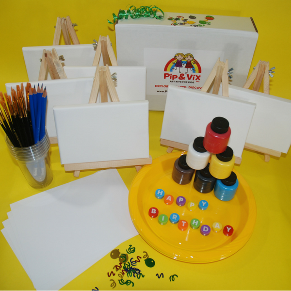 They'll love their colourful paintings as party mementos!