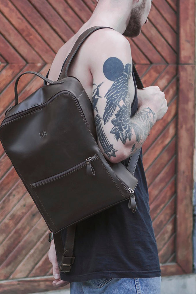 Backpack vintage city friend navy crazy horse